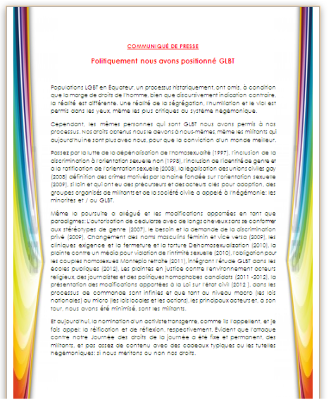 Comunicado en frances de Diane Rodriguez Ecuador candidata transexual