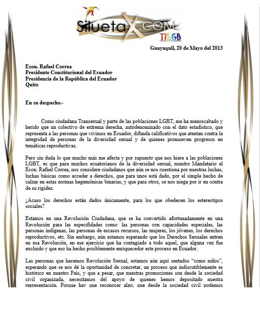 Carta abierta al Econ. Rafael Correa Presidente del Ecuador por parte de Diane Rodríguez Presidenta de SIlueta X y parte del Observatorio GLBTI
