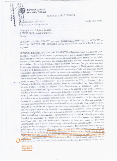 1 Juzgado 1ero de lo Civil Niega cambio de sexo en cedula de identidad de activista transexual Diane Rodriguez con la Biblia en Ecuador - Sentencia