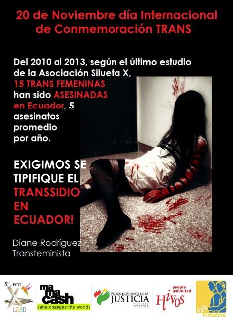 15 trans asesinadas en Ecuador del 2010 al 2013 reveló el ultimo estudio de la Asociación Silueta X dirigida por Diane Rodríguez Tipificación del Transsidio