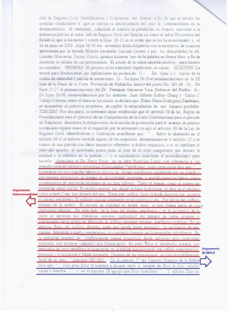 2 Juzgado 1ero de lo Civil Niega cambio de sexo en cedula de identidad de activista transexual Diane Rodriguez con la Biblia en Ecuador - Sentencia