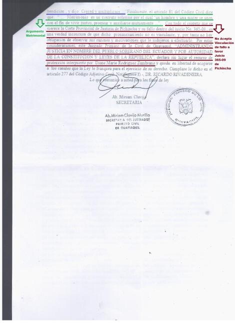 3 Juzgado 1ero de lo Civil Niega cambio de sexo en cedula de identidad de activista transexual Diane Rodriguez con la Biblia en Ecuador - Sentencia