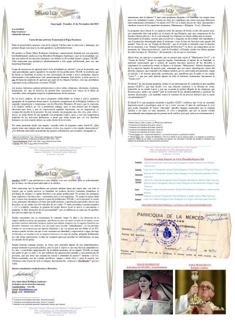 Diane Rodriguez activista transexual - transgénero GLBTI de Ecuador le escribe una carta al Papa Francisco de la Religión Católica