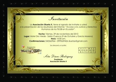 Invitacion a la presentacion del estudio de justicia y acceso TILGB a derechos en Ecuador - Asociacion Silueta X, Diane Rodriguez
