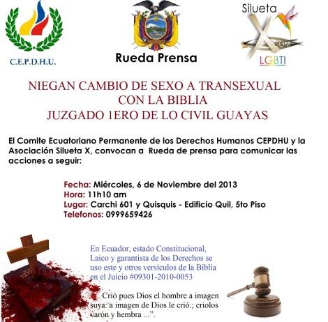 NIEGAN CAMBIO DE SEXO A TRANSEXUAL DIANE RODRIGUEZ CON LA BIBLIA EN ECUADOR ESTADO LAICO