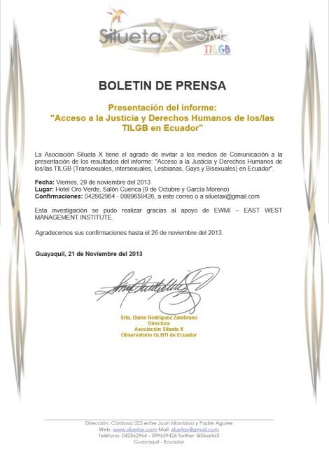 Prensa - Invitacion a la presentacion del estudio de justicia y acceso TILGB a derechos en Ecuador - Asociacion Silueta X, Diane Rodriguez