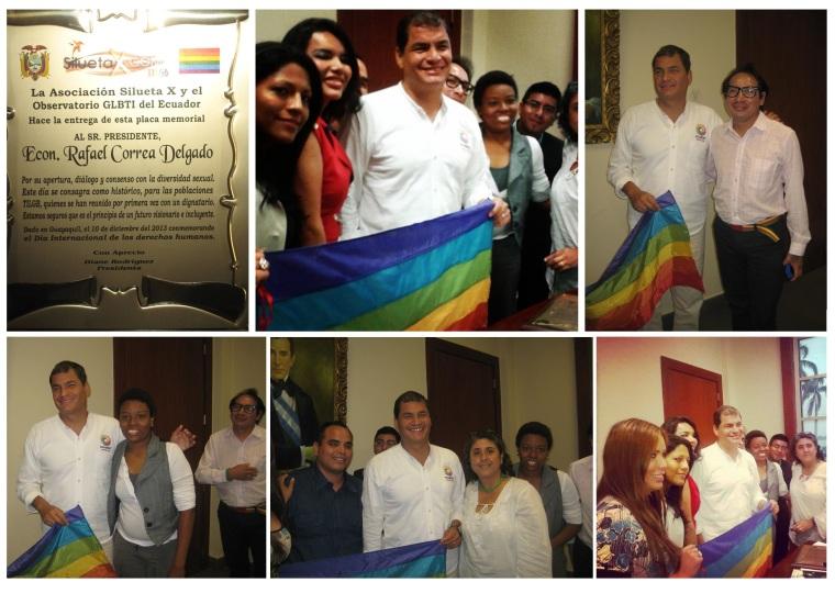 Reunión Histórica entre Representantes activistas LGBTI TILGB GLBTI Silueta X Diane Rodriguez Wilmer Brito Isaias Alvarez con el Presidente de Ecuador Rafael Correa