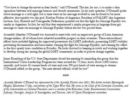 News from Assembly member Daniel ODonell - ODonnell Hosts LGBT activist delegation from latin america 2