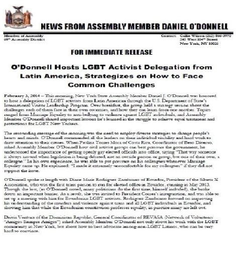 News from Assembly member Daniel ODonell - ODonnell Hosts LGBT activist delegation from latin america