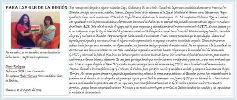 Carta de apoyo a Rayza Torriani