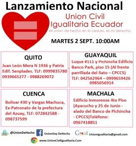 Lanzamiento nacional de campaña unión de hecho homosexual - Union Civil Igualitaria ecuador - mi union de hecho en mi cedula es mi derecho