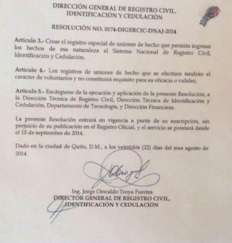 resolucic3b3n-174-del-registro-civil-del-ecuador-que-reconoce-como-estado-civil-uniones-de-hecho-acuerdos-con-rafael-correa-1