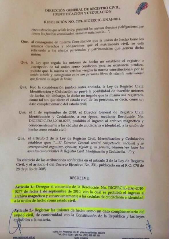 resolucic3b3n-174-del-registro-civil-del-ecuador-que-reconoce-como-estado-civil-uniones-de-hecho-acuerdos-con-rafael-correa-2