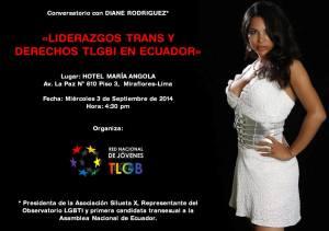 Diane Rodríguez - Liderazgos trans y Derechos TLGBI en Ecuador - 3 de Setpeimbre en Lima - Perú