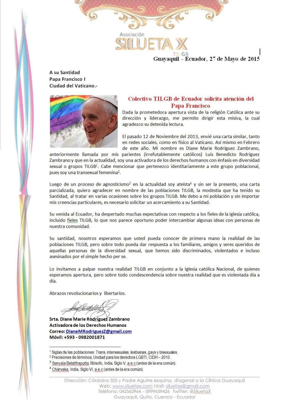 Colectivo TILGB de Ecuador solicita atención del Papa Francisco - Mayo del 2015