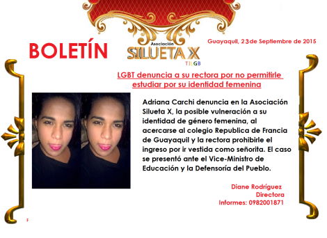 Adolescente transexual denuncia a colegio por no permitirle estudiar con su identidad de géenro femenina en Ecuador