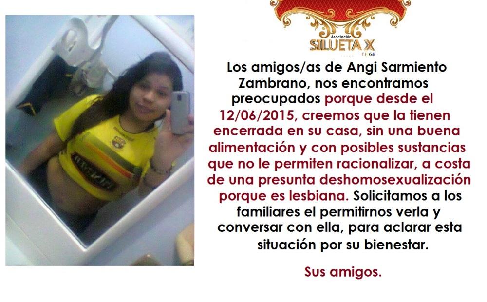 Angi Sarmiento encerrada por su lesbianismo - Asociación Silueta X