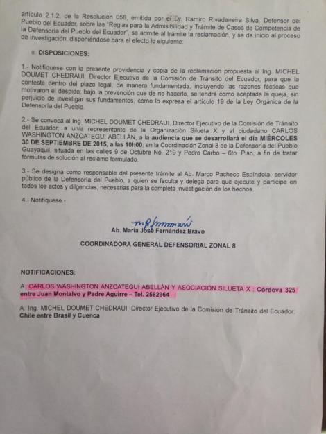 Convocatoria audiencia publica entre Comisión de transito y asociación Silueta X sobre caso de discriminación laboral 2