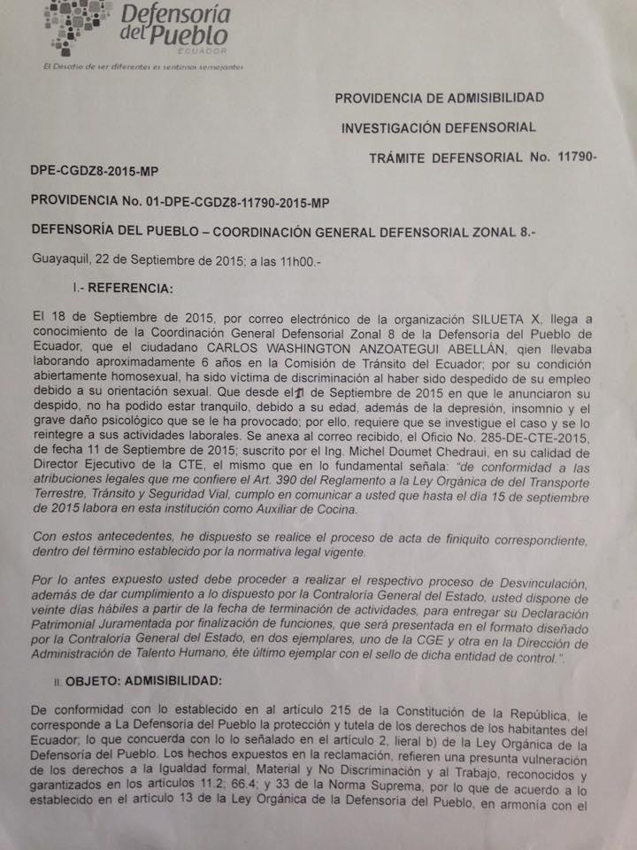 Convocatoria audiencia publica entre Comisión de transito y asociación Silueta X sobre caso de discriminación laboral