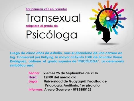 Por primera vez Transexual adquiere el grado de Psicóloga en Ecuador