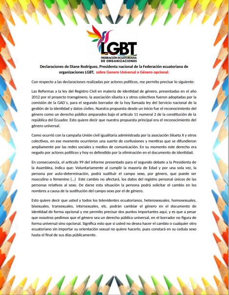 Declaraciones de Diane Rodríguez, presidenta nacional de la Federación Ecuatoriana de organizaciones LGBT, sobre Genero Universal o Género opcional