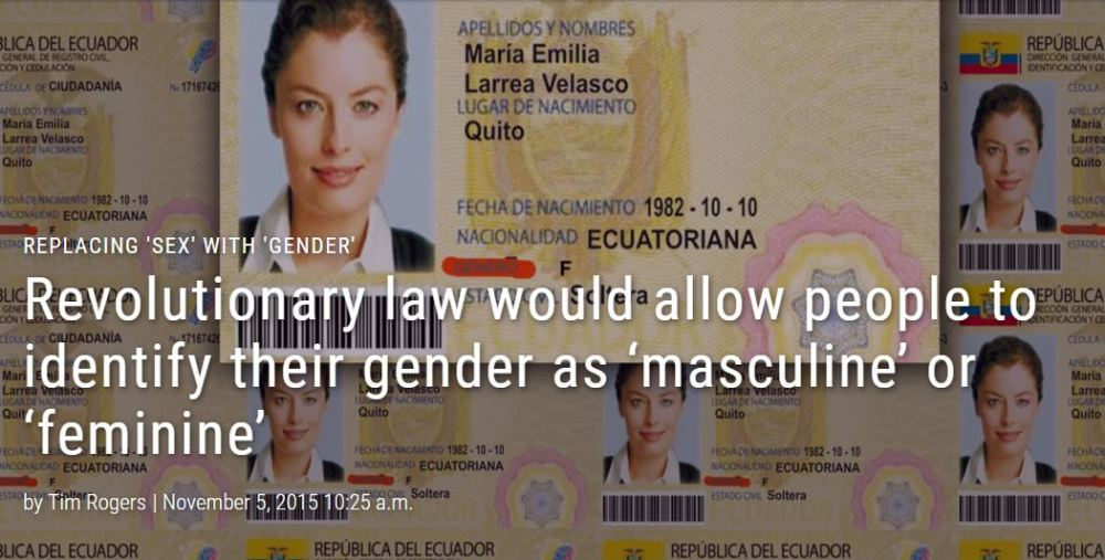 Revolutionary law would allow people to identify their gender as 'masculine' or 'feminine'