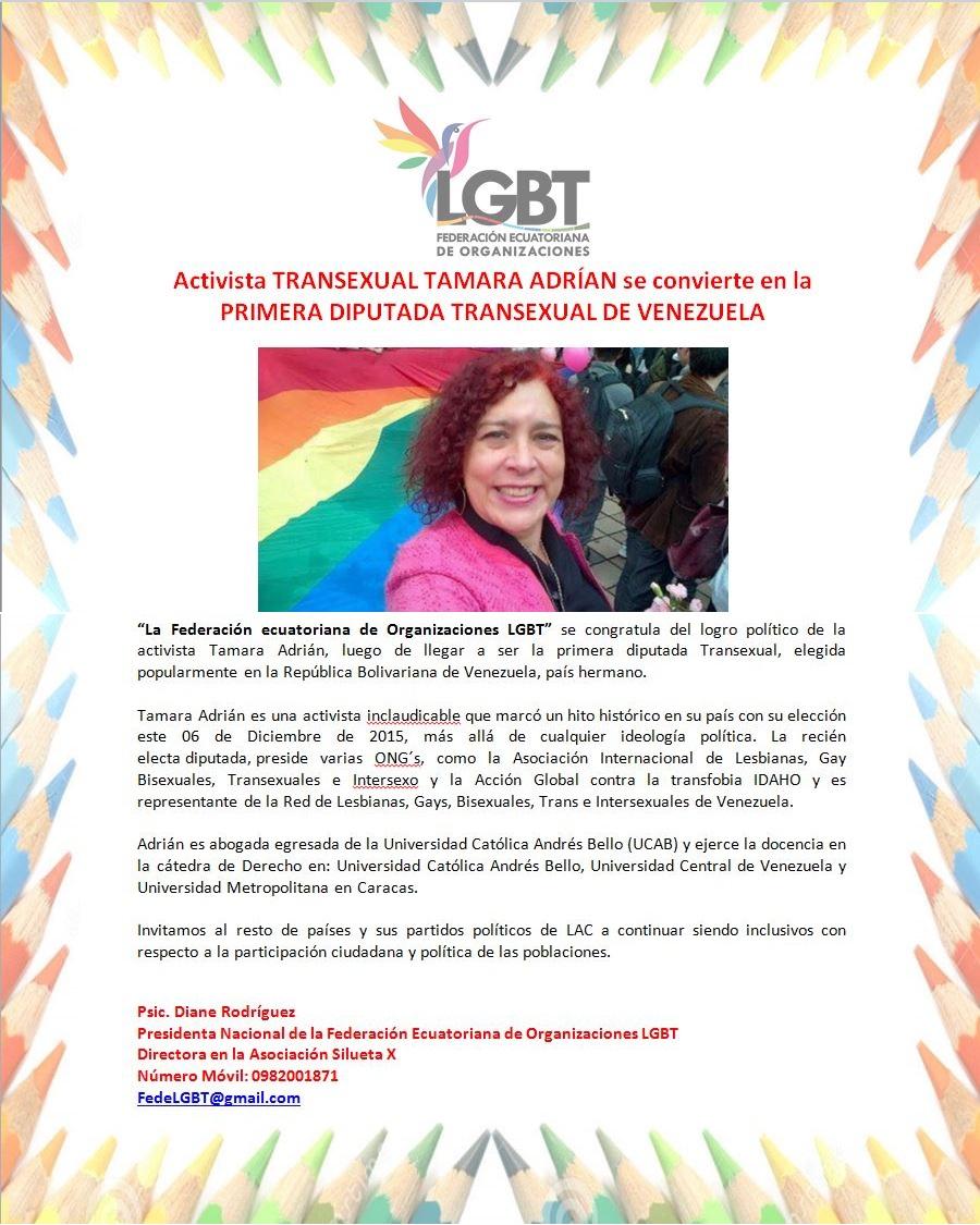 Activista TRANSEXUAL TAMARA ADRÍAN se convierte en la PRIMERA DIPUTADA TRANSEXUAL DE VENEZUELA