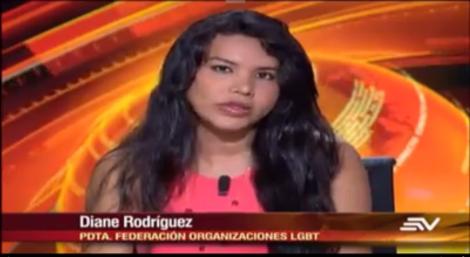 Diane Rodriguez, presidenta nacional de la federación ecuatoriana de organizaciones LGBT