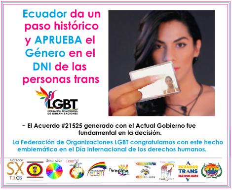 Ecuador da un paso Histórico al reconocer el Género de las Personas Trans en el DNI o cédula - A nivel mundial es el único país que reconoce el género de las personas Trans