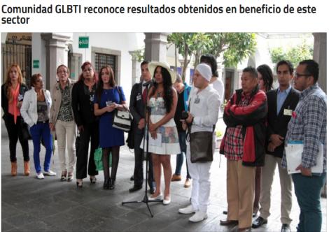 Comunidad GLBTI reconoce resultados obtenidos en beneficio de este sector
