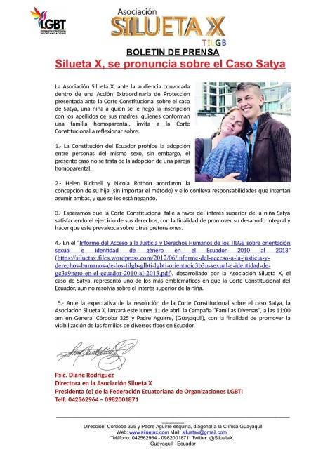 Silueta X se pronuncia sobre el caso satya y anuncia campaña de Familias Diversas