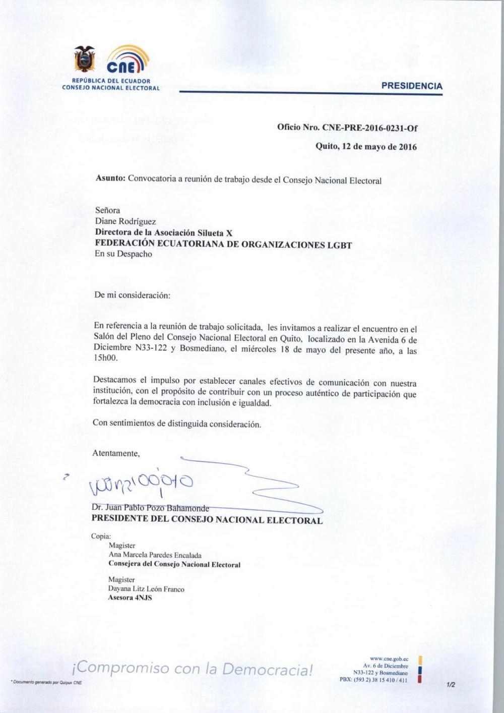 Consejo Nacional Electoral Tramita solicitud de la Federación y SIlueta X para reunirse con LGBTs