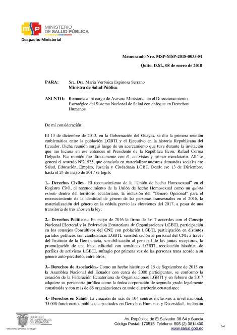 Renuncia Irrevocable de Psic. Diane Rodríguez como Asesora del Ministerio de Salud Pública del Ecuador 1