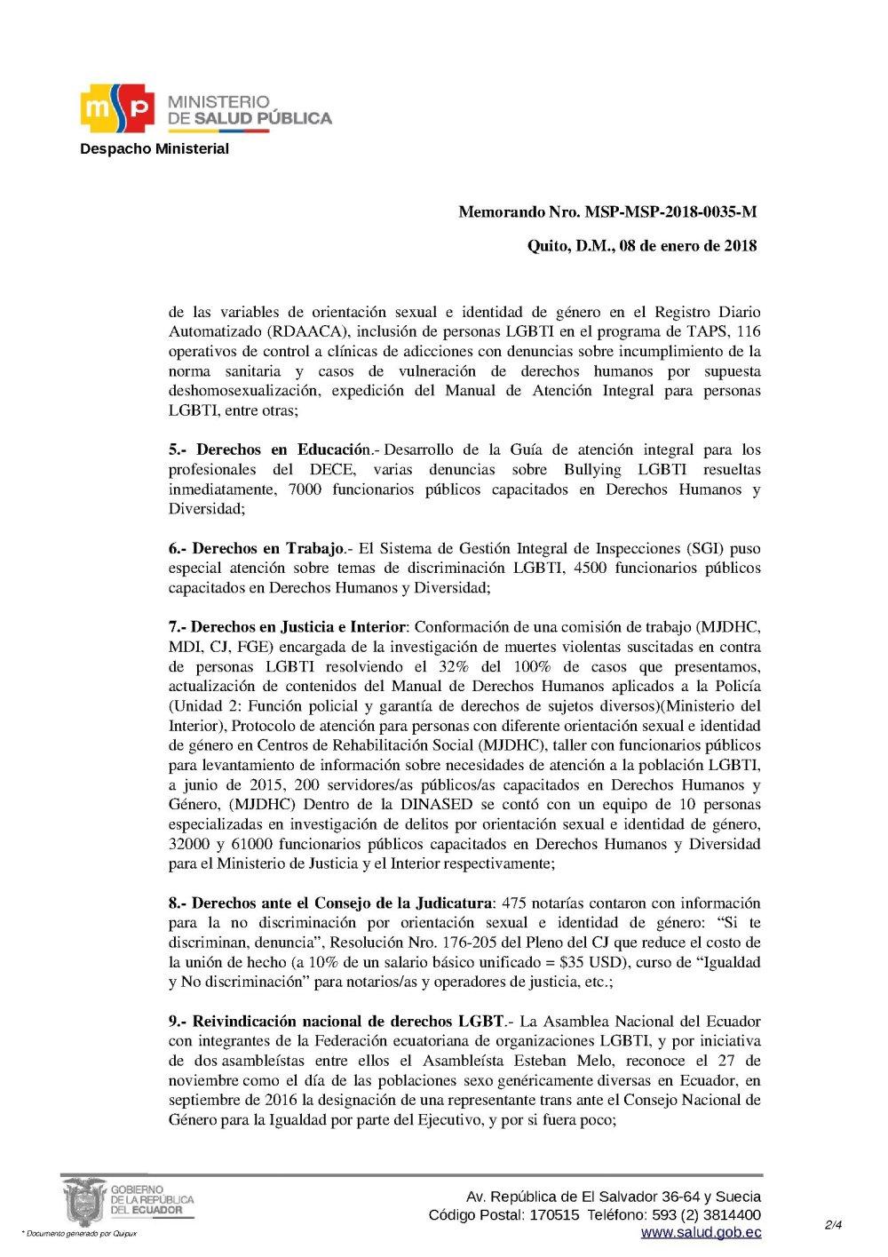 Renuncia Irrevocable de Psic. Diane Rodríguez como Asesora del Ministerio de Salud Pública del Ecuador 2