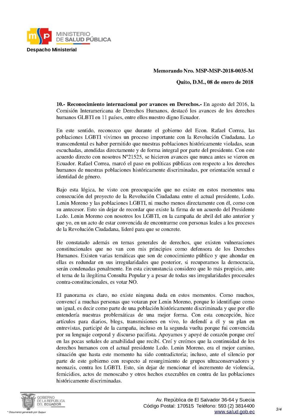 Renuncia Irrevocable de Psic. Diane Rodríguez como Asesora del Ministerio de Salud Pública del Ecuador 3