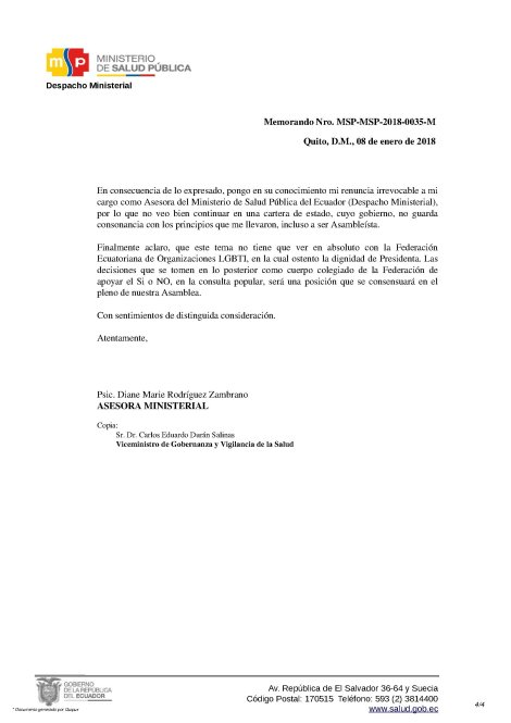 Renuncia Irrevocable de Psic. Diane Rodríguez como Asesora del Ministerio de Salud Pública del Ecuador 4