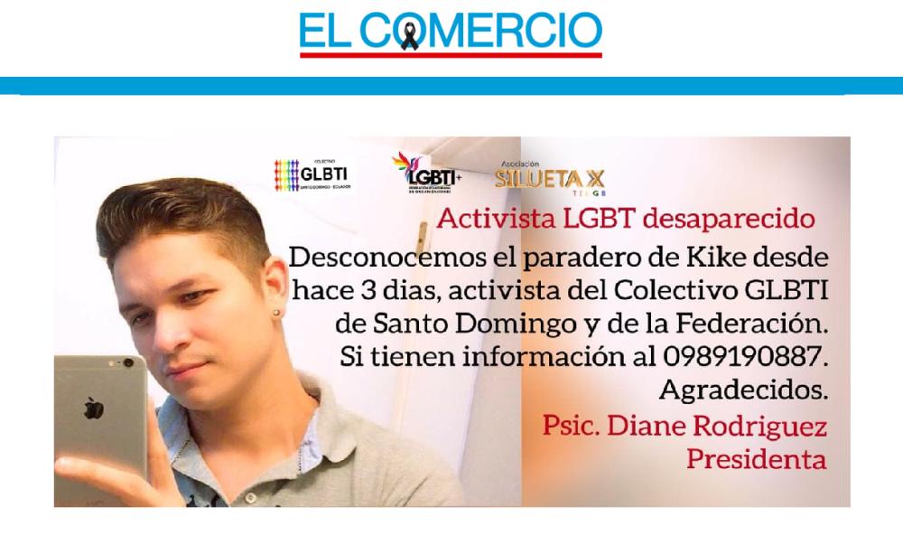 Aparece con vida ecuatoriano activista del colectivo Lgtbi que estaba desaparecido en Santo Domingo-Asociacion Silueta X-Federacion Ecuatoriana LGBTI