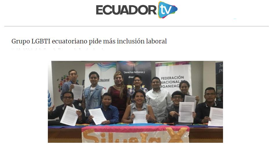 Grupo LGBTI ecuatoriano pide más inclusión laboral-Federacion Ecuatoriana LGBTI-Plataforma Revolucion Trans-Transmasculinos Ecuador-Asociacion Silueta X-Camara de Comercio LGBT de Ecua