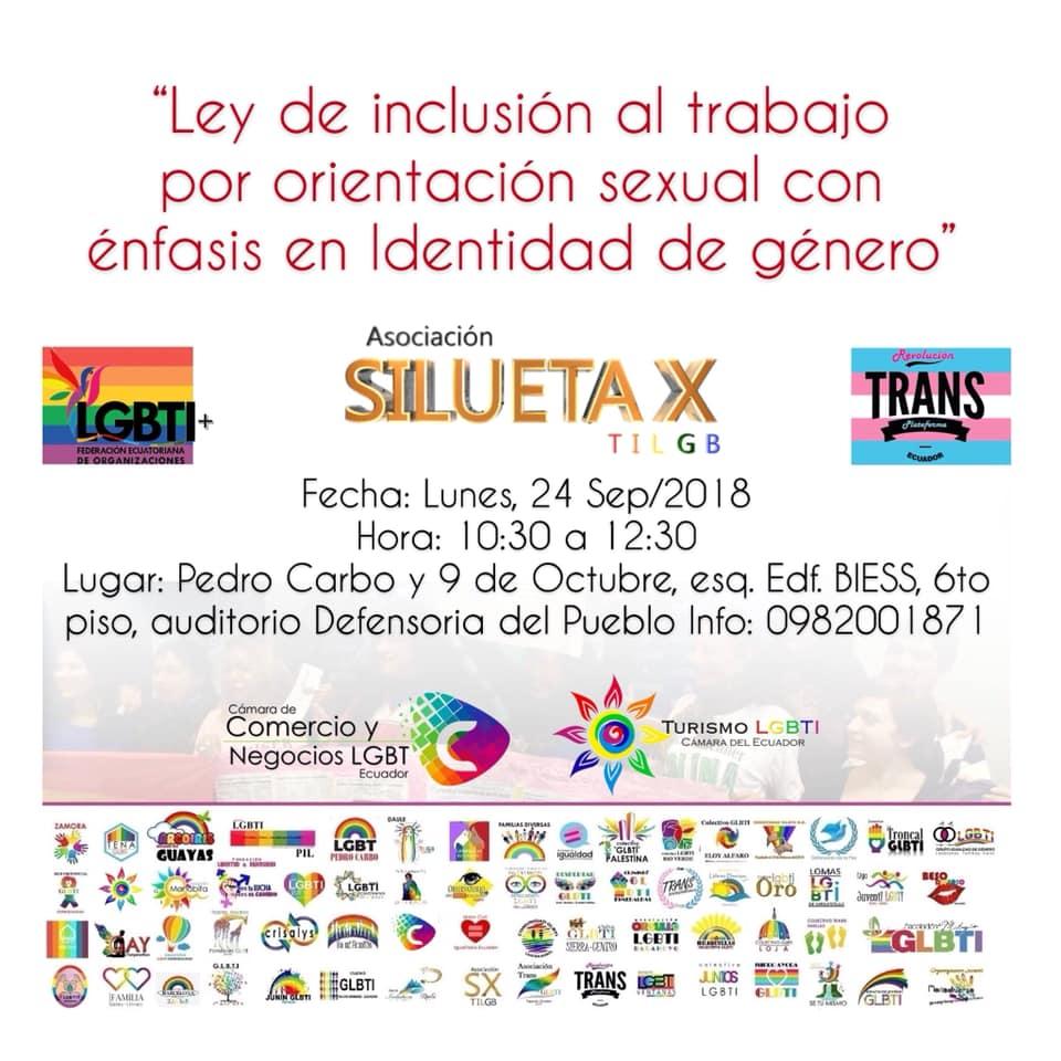 Ley de inclusión al Trabajo por orientación sexual con énfasis en identidad de género. 1er Encuentro por el acceso laboral LGBTI-Asociacion Silueta X-Federacion Ecuatoriana LGBTI-Cam