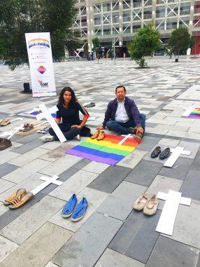 Iniciativa Zapatos diversos por asesinatos LGBT ecuador Asociación Silueta X Federación ecuatoriana (1)