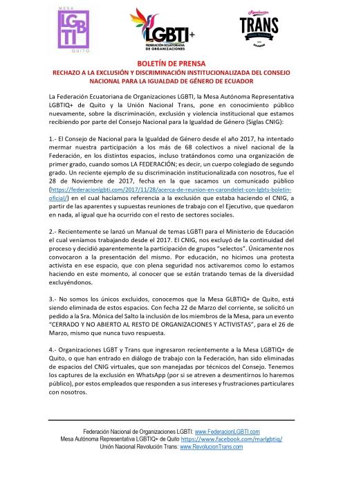 Rechazo a la exclusión y discriminación institucionalizada del Consejo Nacional para la Igualdad de Género de Ecuador - Federación de organizaciones LGBT - Unión Nacional revolución Trans - Mesa LGBTIQ de Quito