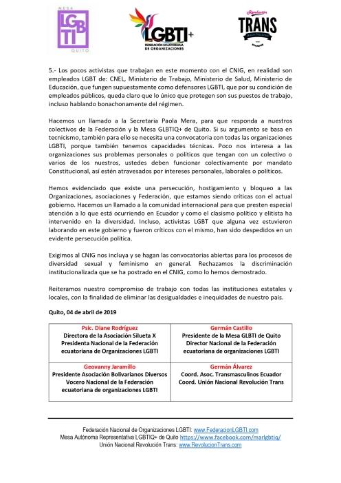Rechazo a la exclusión y discriminación institucionalizada del Consejo Nacional para la Igualdad de Género de Ecuador - Federación de organizaciones LGBT - Unión Nacional revolución Trans - Mesa LGBTIQ de Quito 1