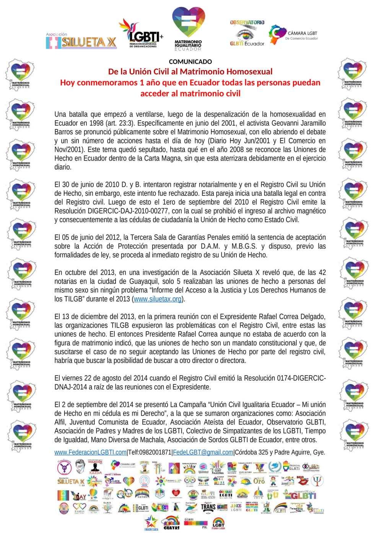 Comunicado - Hoy conmemoramos 1 año que en Ecuador todas las personas puedan acceder al Matrimonio Civil - Federación Ecuatoriana de Organizaciones LGBT - Camara LGBT de Comercio - Silueta X-1